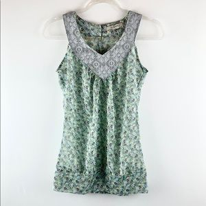 ROMY   Floral Lace Trim Sheer Sleeveless Blouse